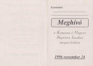 Krasznai Magyar Baptista Imaház megnyitójára meghívó 1996.11.24 - elülső oldal