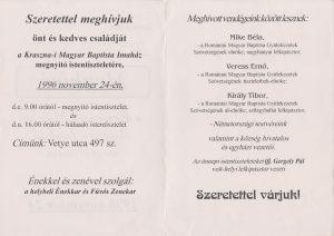 Krasznai Magyar Baptista Imaház megnyitójára meghívó 1996.11.24 - hátsó oldal